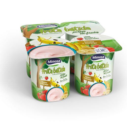 MIMOSA Iogurte Polpa Banana e Morango 4x120 g