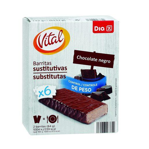 DIA VITAL Barritas Substitutas Chocolate Negro 6x32 g