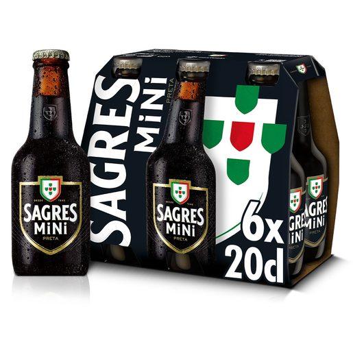 SAGRES MINI Cerveja com Álcool Preta 6x200 ml