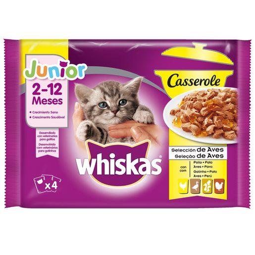WHISKAS Alimento Húmido Para Gato Júnior Casserole Aves 4x85 g