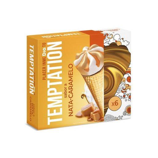 TEMPTATION Gelado Cones Sabor Nata E Caramelo 6x110 ml